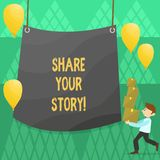 Conceptual hand writing showing Share Your Story. Business photo showcasing Experience Nostalgia Memory Personal. Conceptual hand writing showing Share Your royalty free illustration