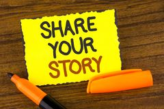 Conceptual hand writing showing Share Your Story. Business photo showcasing Tell personal experiences talk about yourself Storytel. Ling written Yellow Sticky Royalty Free Stock Photo