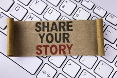 Conceptual hand writing showing Share Your Story. Business photo showcasing Tell personal experiences talk about yourself Storytel. Ling written Folded Cardboard Royalty Free Stock Images
