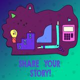 Conceptual hand writing showing Share Your Story. Business photo text Experience Nostalgia Memory Personal. Conceptual hand writing showing Share Your Story stock illustration