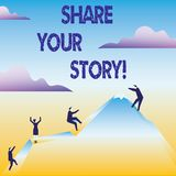 Conceptual hand writing showing Share Your Story. Business photo text Experience Nostalgia Memory Personal. Conceptual hand writing showing Share Your Story vector illustration