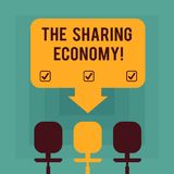 Conceptual hand writing showing The Sharing Economy. Business photo text systems assets or services shared between. Individuals Space Color Arrow Pointing to vector illustration