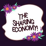 Conceptual hand writing showing The Sharing Economy. Business photo text systems assets or services shared between. Individuals Blank Color Shape with Flowers royalty free illustration