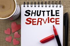 Conceptual hand writing showing Shuttle Service. Business photo showcasing Transportation Offer Vacational Travel Tourism Vehicle. Written Notebook Book the Royalty Free Stock Photography