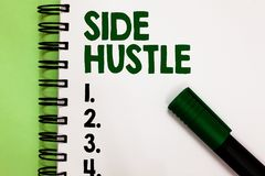 Conceptual hand writing showing Side Hustle. Business photo showcasing way make some extra cash that allows you flexibility to pur. Sue Marker over notebook royalty free stock photos