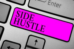 Conceptual hand writing showing Side Hustle. Business photo text way make some extra cash that allows you flexibility to pursue Ke. Yboard purple key computer stock images