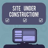 Conceptual hand writing showing Site Under Construction. Business photo showcasing Implies something is being built for the first. Time Mounted Computer Screen stock illustration