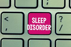 Conceptual hand writing showing Sleep Disorder. Business photo showcasing problems with the quality, timing and amount. Of sleep royalty free stock photography