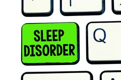 Conceptual hand writing showing Sleep Disorder. Business photo text problems with the quality, timing and amount of. Sleep royalty free stock photo