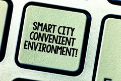 Conceptual hand writing showing Smart City Convenient Environment. Business photo showcasing Connected technological. Modern cities Keyboard key Intention stock photos