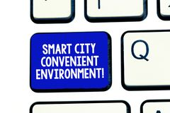 Conceptual hand writing showing Smart City Convenient Environment. Business photo showcasing Connected technological. Modern cities Keyboard Intention to create royalty free stock images