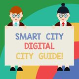 Conceptual hand writing showing Smart City Digital City Guide. Business photo text Connected technological modern cities. Male and Female in Uniform Holding stock illustration