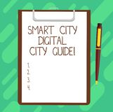 Conceptual hand writing showing Smart City Digital City Guide. Business photo text Connected technological modern cities. Sheet of Bond Paper on Clipboard with vector illustration