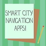 Conceptual hand writing showing Smart City Navigation Apps. Business photo text Connected technological advanced modern cities. Stack of Different Pastel Color royalty free illustration