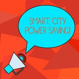 Conceptual hand writing showing Smart City Power Saving. Business photo showcasing Connected technological cities electricity. Savings Oval Outlined Speech vector illustration