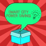 Conceptual hand writing showing Smart City Power Saving. Business photo showcasing Connected technological cities. Electricity savings Idea icon in Blank royalty free illustration