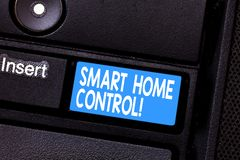 Conceptual hand writing showing Smart Home Control. Business photo showcasing provides owners security comfort and. Energy efficiency Keyboard key Intention to stock photos
