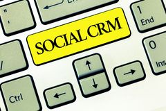Conceptual hand writing showing Social Crm. Business photo text Customer relationship analysisagement used to engage. With customers stock photos