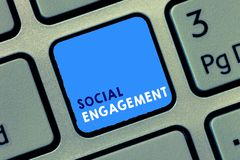 Conceptual hand writing showing Social Engagement. Business photo text Degree of engagement in an online community or society.  royalty free stock photos