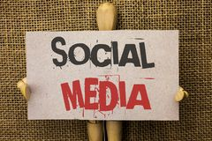 Conceptual hand writing showing Social Media. Business photo text Communication Chat Online Messaging Share Community Societal wri. Tten Cardboard Piece the jute Royalty Free Stock Photos