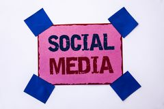 Conceptual hand writing showing Social Media. Business photo text Communication Chat Online Messaging Share Community Societal wri. Tten Pink Sticky Note Paper Royalty Free Stock Photos