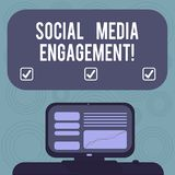 Conceptual hand writing showing Social Media Engagement. Business photo showcasing Communicating in an online community platforms. Mounted Computer Screen with vector illustration