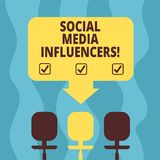 Conceptual hand writing showing Social Media Influencers. Business photo showcasing showing who have a reputation for. Their knowledge Space Color Arrow vector illustration