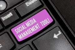 Conceptual hand writing showing Social Media Management Tool. Business photo showcasing Application for analysisage your. Online networks Keyboard key Intention royalty free stock images