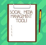 Conceptual hand writing showing Social Media Management Tool. Business photo text Application for analysisage your online networks. Sheet of Bond Paper on royalty free stock photos