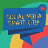 Conceptual hand writing showing Social Media Smart City. Business photo text Connected technological advanced modern cities Folded. 3D Ribbon Sash Speech Bubble royalty free illustration