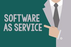 Conceptual hand writing showing Software As Service. Business photo text On Demand licensed on Subscription and. Centrally hosted royalty free illustration