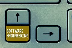 Conceptual hand writing showing Software Engineering. Business photo showcasing Program Development in Systematic. Quantifiable approach stock images