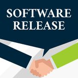 Conceptual hand writing showing Software Release. Business photo showcasing sum of stages of development and maturity. Conceptual hand writing showing Software royalty free stock photography