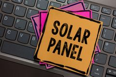 Conceptual hand writing showing Solar Panel. Business photo showcasing designed to absorb suns rays source of energy generating Pa. Pers keyboard Inspiration stock photo