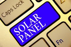 Conceptual hand writing showing Solar Panel. Business photo showcasing designed to absorb suns rays source of energy generating Ke. Yboard blue key Intention stock images