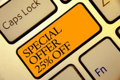 Conceptual hand writing showing Special Offer 25 Off. Business photo text Discounts promotion Sales Retail Marketing Offer Golden. Grey computer keyboard with royalty free stock photo
