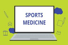 Conceptual hand writing showing Sports Medicine. Business photo showcasing Treatment and prevention of injuries related