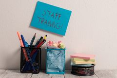 Conceptual hand writing showing Staff Training. Business photo text learn specific knowledge improve perforanalysisce in. Conceptual hand writing showing Staff stock image