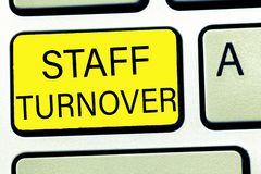 Conceptual hand writing showing Staff Turnover. Business photo text The percentage of workers that replaced by new employees.  royalty free stock photography