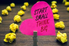 Conceptual hand writing showing Start Small Think Big. Business photo text Initiate with few things have something great in mind P. Aperclip hold pink written royalty free stock images