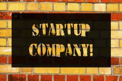 Conceptual hand writing showing Startup Company. Business photo showcasing Newly emerged business created by new entrepreneurs stock photo