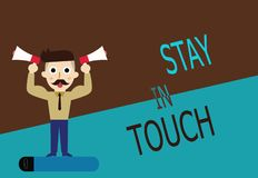 Conceptual hand writing showing Stay In Touch. Business photo text Keep Connected thru Phone Letters Visit Email Social Media.  royalty free illustration