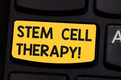 Conceptual hand writing showing Stem Cell Therapy. Business photo showcasing use them to treat or prevent disease or. Hard condition Keyboard key Intention to stock photography