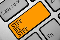 Conceptual hand writing showing Step By Step. Business photo showcasing Slow progress Road to success Direction development Growth. Keyboard orange key computer royalty free stock photo