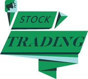 Conceptual hand writing showing Stock Trading. Business photo text Buy and Sell of Securities Electronically on the Exchange Floor royalty free illustration