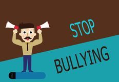 Conceptual hand writing showing Stop Bullying. Business photo text Fight and Eliminate this Aggressive Unacceptable Behavior.  stock illustration