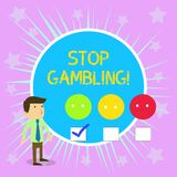Conceptual hand writing showing Stop Gambling. Business photo text stop the urge to gamble continuously despite harmful. Conceptual hand writing showing Stop vector illustration