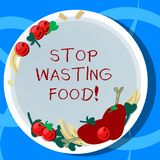 Conceptual hand writing showing Stop Wasting Food. Business photo showcasing organization works for reduction food waste. In society Hand Drawn Lamb Chops Herb stock illustration