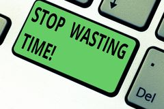Conceptual hand writing showing Stop Wasting Time. Business photo text doing something that unnecessary does not produce. Benefit Keyboard key Intention to royalty free stock photography