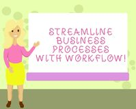 Conceptual hand writing showing Streamline Business Processes With Workflow. Business photo showcasing Computer social stock illustration